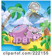 Cute Purple Triceratops By A Watering Hole In A Tropical Volcanic Landscape