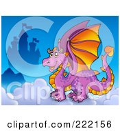 Royalty Free RF Clipart Illustration Of A Purple Dragon Near A Castle In The Clouds 1