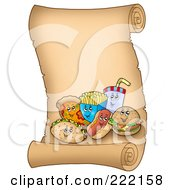 Royalty Free RF Clipart Illustration Of Happy Fast Foods On A Vertical Parchment Page by visekart