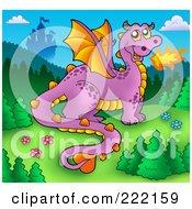 Purple Fire Breathing Dragon Near A Castle - 1
