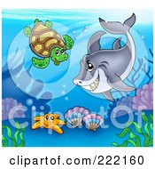 Royalty Free RF Clipart Illustration Of A Shark Swimming With A Sea Turtle Above A Starfish And Corals