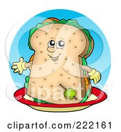 Royalty Free RF Clipart Illustration Of A Happy Sandwich Character On A Plate
