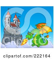Royalty Free RF Clipart Illustration Of A Green Dragon Near A Castle In The Sky 2
