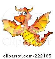 Royalty Free RF Clipart Illustration Of A Cute Orange Fire Breathing Dragon In Flight