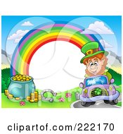 Royalty Free RF Clipart Illustration Of A Frame Of A Leprechaun Driving A Horseshoe And Pot Of Gold With A Rainbow Around White Space by visekart