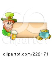 Royalty Free RF Clipart Illustration Of A Leprechaun Holding A Beer And A Pot Of Gold With A Blank Wooden Sign by visekart