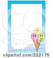 Royalty Free RF Clipart Illustration Of A Happy Ice Cream Cone Frame Around White Space by visekart