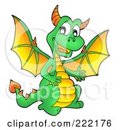 Royalty Free RF Clipart Illustration Of A Cute Green Dragon With A Yellow Belly And Wings