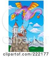 Purple Fire Breathing Dragon Near A Castle - 2