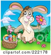 Royalty Free RF Clipart Illustration Of An Easter Bunny Holding A Flower And Sitting By A Basket
