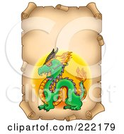 Royalty Free RF Clipart Illustration Of A Chinese Dragon On A Vertical Aged Parchment Page by visekart