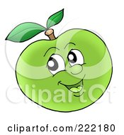 Happy Green Apple Face Smiling