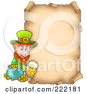 Royalty Free RF Clipart Illustration Of A St Patricks Day Aged Parchment Page With A Leprechaun by visekart
