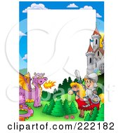 Royalty Free RF Clipart Illustration Of A Knight And Horse With A Dragon And Castle Frame Around White Space by visekart