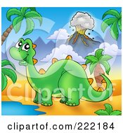 Royalty Free RF Clipart Illustration Of A Cute Stegasaur By A Watering Hole In A Tropical Volcanic Landscape