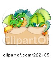 Royalty Free RF Clipart Illustration Of A Green Fire Breathing Dragon Over A Blank Wooden Sign