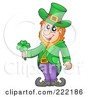 Royalty Free RF Clipart Illustration Of A Friendly Leprechaun Wearing A Green Top Hat And Jacket And Holding A Shamrock by visekart