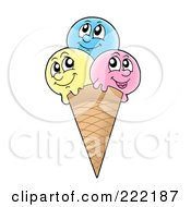 Royalty Free RF Clipart Illustration Of Three Faced Waffle Cone Character by visekart