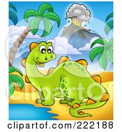 Royalty Free RF Clipart Illustration Of A Cute Stegasaurus By A Watering Hole In A Tropical Volcanic Landscape