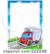 Royalty Free RF Clipart Illustration Of A Big Rig Truck Frame Around White Space by visekart