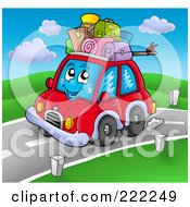 Royalty Free RF Clipart Illustration Of A Car Character With Luggage On The Roof by visekart