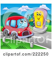 Car Character And Gas Pump