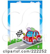 Car Waving A Racing Flag Border Around White Space