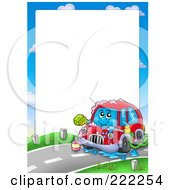 Royalty Free RF Clipart Illustration Of A Car Wash Border Around White Space