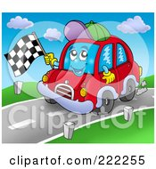 Car Character Waving A Racing Flag