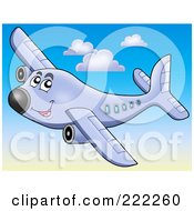 Royalty Free RF Clipart Illustration Of A Happy Airplane Flying In The Sky 1 by visekart