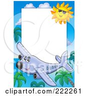 Royalty Free RF Clipart Illustration Of A Happy Airplane Palm Tree And Sun Border Around White Space by visekart