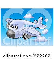 Royalty Free RF Clipart Illustration Of A Happy Airplane Flying In The Sky 2 by visekart