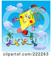 Royalty Free RF Clipart Illustration Of A Happy Yellow Kite In The Sky