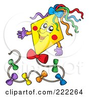 Royalty Free RF Clipart Illustration Of A Happy Yellow Kite Character by visekart