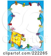 Royalty Free RF Clipart Illustration Of A Happy Yellow Kite And Sky Border Around White Space