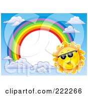 Royalty Free RF Clipart Illustration Of A Sun And Rainbow Border Around White Space 2