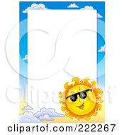 Royalty Free RF Clipart Illustration Of A Sun And Sky Border Around White Space 4