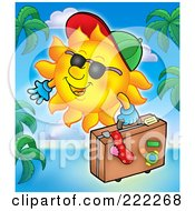 Royalty Free RF Clipart Illustration Of A Happy Summer Sun Carrying Luggage