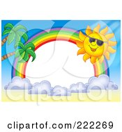 Royalty Free RF Clipart Illustration Of A Sun And Rainbow Border Around White Space 1