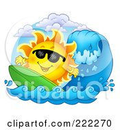 Royalty Free RF Clipart Illustration Of A Happy Summer Sun Wearing Shades And Surfing by visekart
