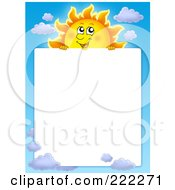 Royalty Free RF Clipart Illustration Of A Sun And Sky Border Around White Space 2