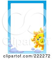 Royalty Free RF Clipart Illustration Of A Sun And Sky Border Around White Space 3