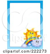 Royalty Free RF Clipart Illustration Of A Sun Rainbow Clouds And Sky Border Around White Space