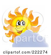 Royalty Free RF Clipart Illustration Of A Happy Summer Sun Looking Over A Cloud