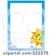 Royalty Free RF Clipart Illustration Of A Sun And Sky Border Around White Space 1