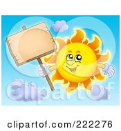 Royalty Free RF Clipart Illustration Of A Happy Summer Sun Holding A Wooden Sign On A Post
