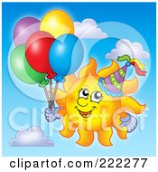 Royalty Free RF Clipart Illustration Of A Happy Summer Sun With A Party Hat And Balloons