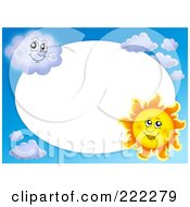 Royalty Free RF Clipart Illustration Of A Sun And Cloud Border Around White Oval Space