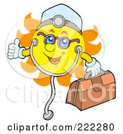 Royalty Free RF Clipart Illustration Of A Happy Summer Sun Doctor With A First Aid Kit And Stethoscope