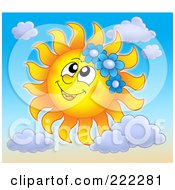 Royalty Free RF Clipart Illustration Of A Happy Summer Sun Wearing Blue Flowers